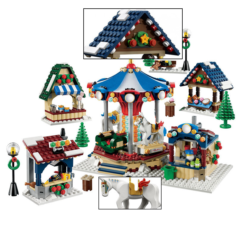1412PCS Creative Series Creator Winter Village Market Building Blocks Bricks Toys for LEGOINGS Children Christmas Gift 10235 lepin 36010 creative series 1412pcs the winter village market set 10235 building blocks bricks educational toys christmas gifts
