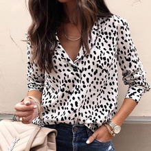 2019 Spring Autumn Fashion Printed Leopard Print Botton Slim fit Blouse Long sleeves Women Casual Entertainment Party Shirt