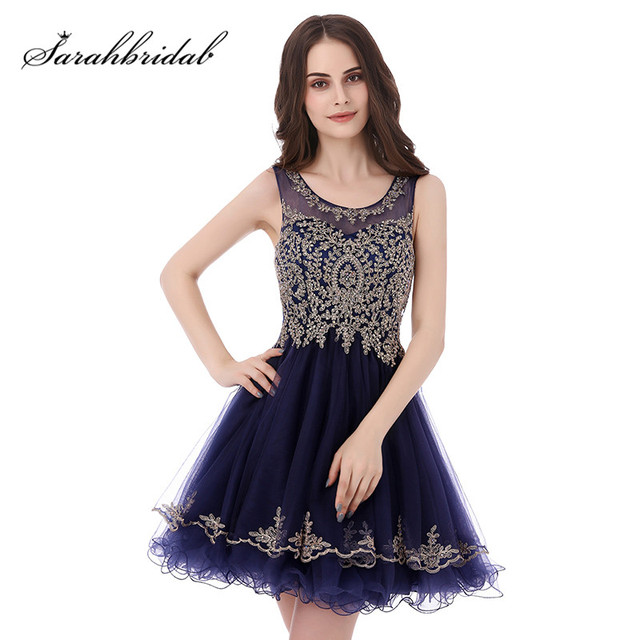 Navy Blue Short Prom Dresses Sheer O Neck Embroidery Above Knee Length Party Homecoming Gowns Real Photo Robe De Soiree CC327