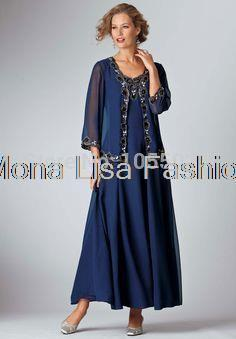 Uk New Arrival Navy Grandmother Mother Of The Bride Gown With Jacket Floor Length Mom S