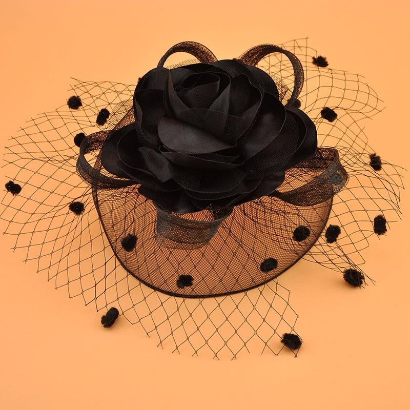 Vintage Bridal Flower Hats Elegant Wedding Accessories Bride Net Hats White Fascinator Hats Women's Formal Occasion