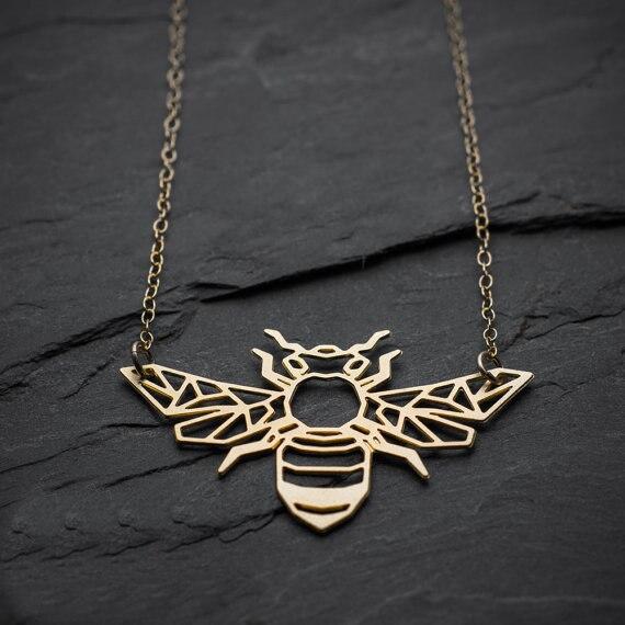 Niandi Geometrische Biene Halskette Origami Gold Biene Halskette