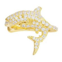 YP2370 AP Women Wedding Shark Animal Clip Earring Animal 925 Sterling Silver Crystal Zircon Cuff Earring Trendy Jewelry(China)