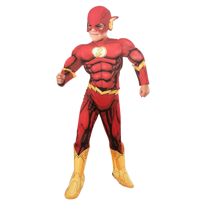 The Flash Muscle Superhero Fancy Dress Kids Fantasy Comics Movie Carnival Party Halloween Flashman Cosplay Costumes  sc 1 st  AliExpress.com & The Flash Muscle Superhero Fancy Dress Kids Fantasy Comics Movie ...