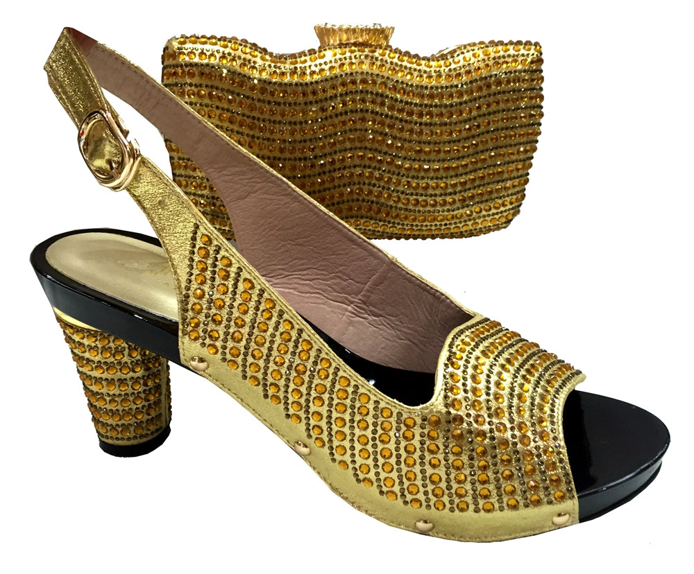 YZ18 Gold Color Latest African Shoes And Bag Set For Party