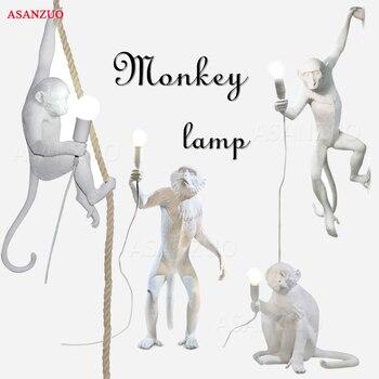 Modern Creative Design Resin Monkey Lamp For Home living room study bar restaurant Bar Cafe Retro E27 Pendant lamp