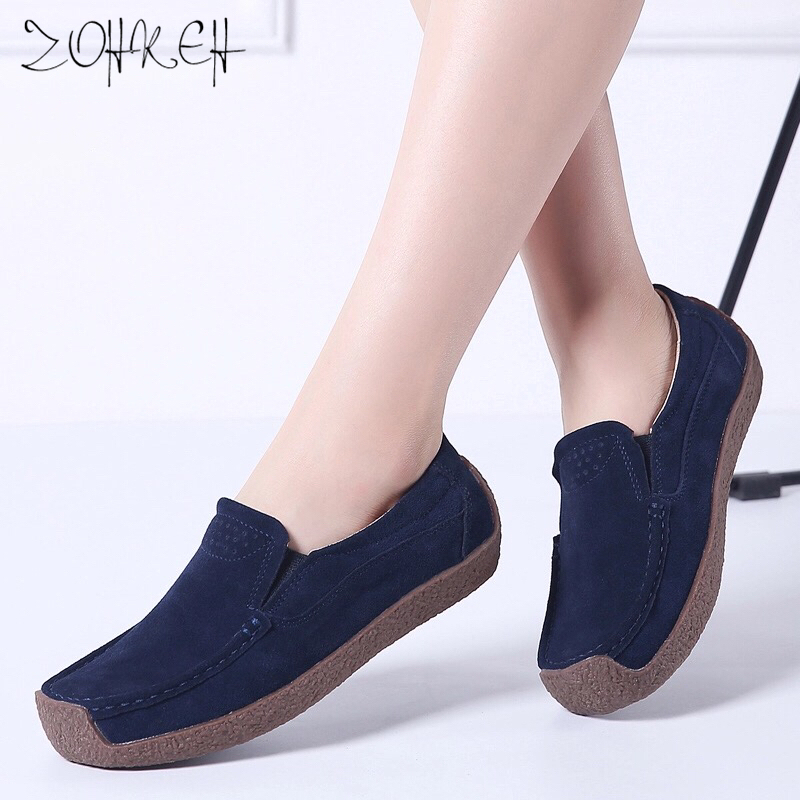 2019 New Spring Flats Loafers Shoes For Women   Leather     Suede   Chaussure Femme Slip On Ballerina Oxford Woman Sneakers Plus Size