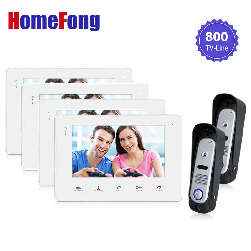 Homefong7 LCD Touch Key Monitor  Video Door Phone Intercom System with IR Camera with Doorbell Home Entry Intercom Night Vision jeatone 7 touch screen tft lcd monitor video door phone intercom system with night vision hd outdoor camera for home security