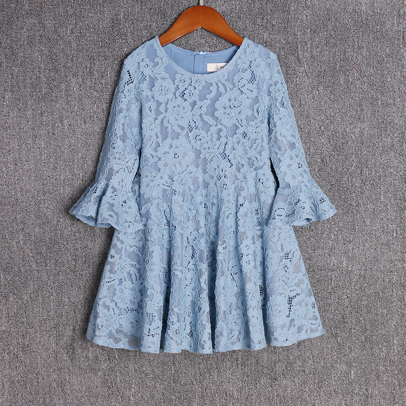 Spring children clothing light blue lace dress mother daughter fashion skirts mommy and baby girls dress family matching outfitsSpring children clothing light blue lace dress mother daughter fashion skirts mommy and baby girls dress family matching outfits