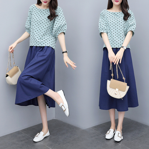 S-3xl Summer Cotton Linen Korean Women Two Piece Outfits Sets Plus Size Dot Print Tops And A-line Skirt Suits Casual Office Sets 50