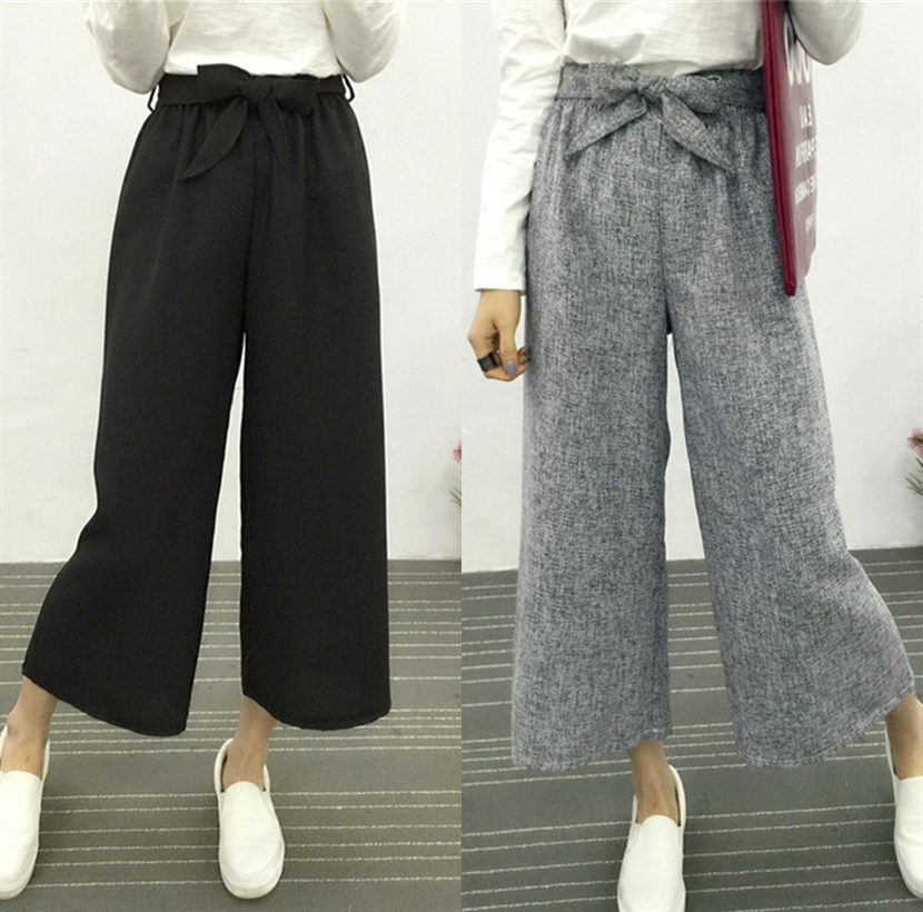 2018 fashion summer   wide     leg     pants   female high waist texture loose hip hop   pants   elegant office ladies cropped trousers