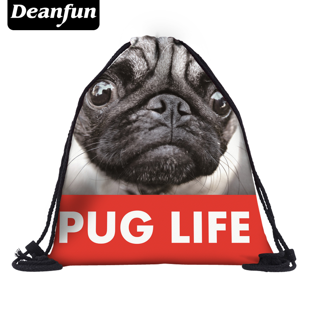 Deanfun Pug Drawstring Bags 3D Printed Animal Women New Fashion Cute Backpacks SKD 6 drawstring bags