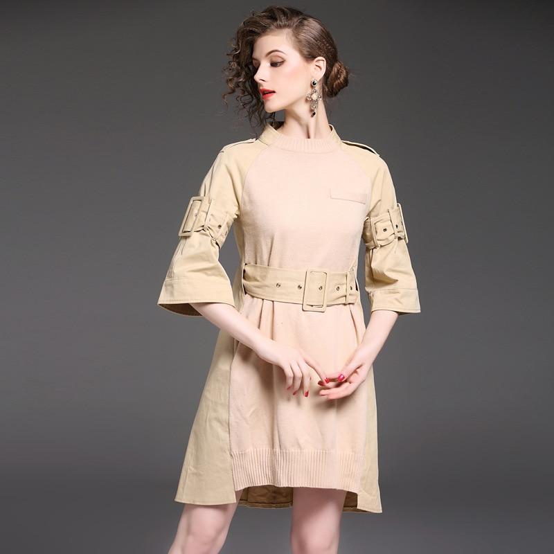2017 Осень бутик HMCHIME трикотажное платье мода сексуальное семь Flare рукавом стенд воротник линия платье дамы с поясами HM695