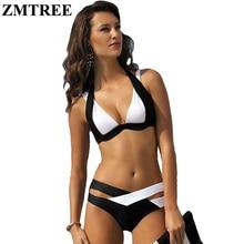 ZMTREE Nuevo Verano Patchwork Sexy Bikini Mujer traje de Baño Halter 2016 Del Vendaje ropa de Playa Maillot De Bain Biquini traje de Baño Mejor Suave