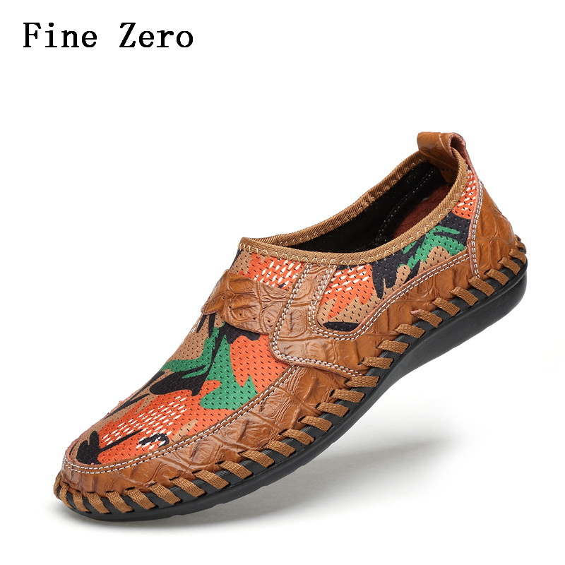Formal Shoes Fine Zero Summer Breathable Mesh Shoes Mens Casual Shoes Genuine Leather Slip On Brand Fashion Summer Shoes Man Soft Comfortable Shoes