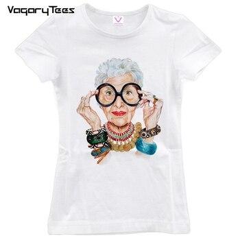 Old Women Print T Shirt Women O-neck Short Sleeve  Tops