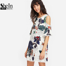 SheIn Womens Dresses Summer Dresses Casual Multicolor Tropical Print Cold Shoulder Half Sleeve Lace Trim Dress