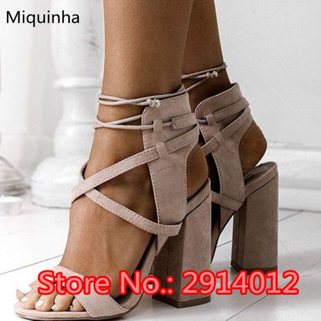 2115265eb1f Suede Leather Cross-Over Lace Up Rome Sandals Cut-Outs Chunky Heels  Slingbacks Ankle-Wrap Gladiator Sandals Casual Shoes Woman