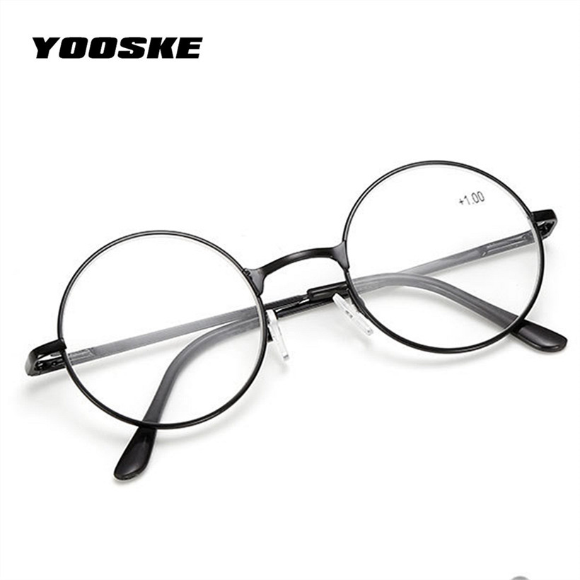 YOOSKE Retro Men Women Round Mirror Reading Glasses For Harry Potter Metal Frame Glasses Mirror Personalized 1.0 1.5 2.0 2.5 3.0 1