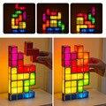 Diy puzzle tetris luz conduzida da noite estilo retro jogo empilhável levou puzzle romântico luz colorido enigma criativo ue us au uk plug