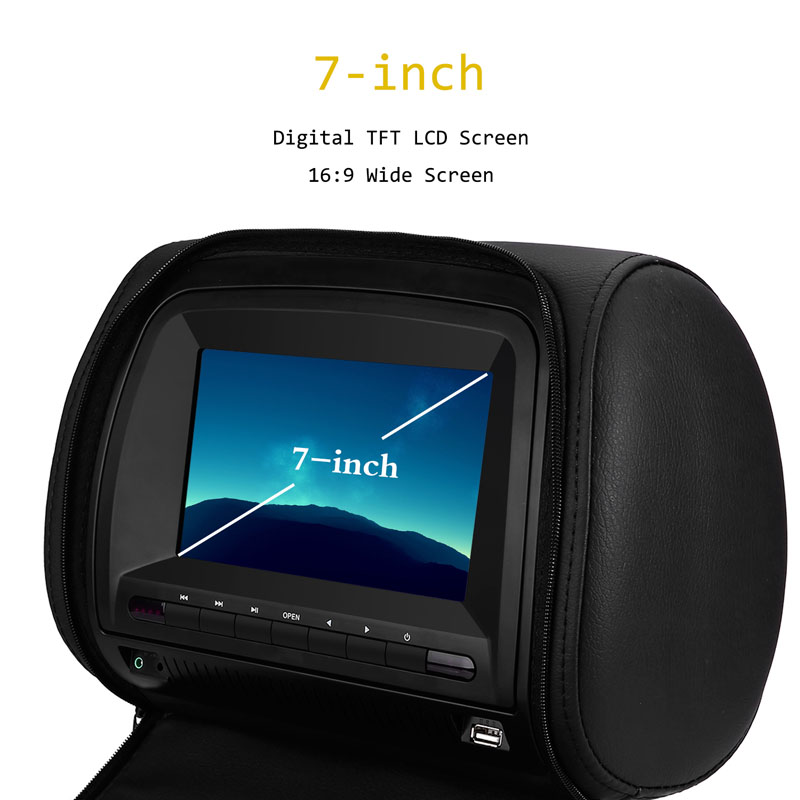 Monitor 7 Inch Wide View TFT LCD Digital Screen Car DVD Player Headrest With IR/FM Transmitter USB SD Speaker Game MP5 Player - 3