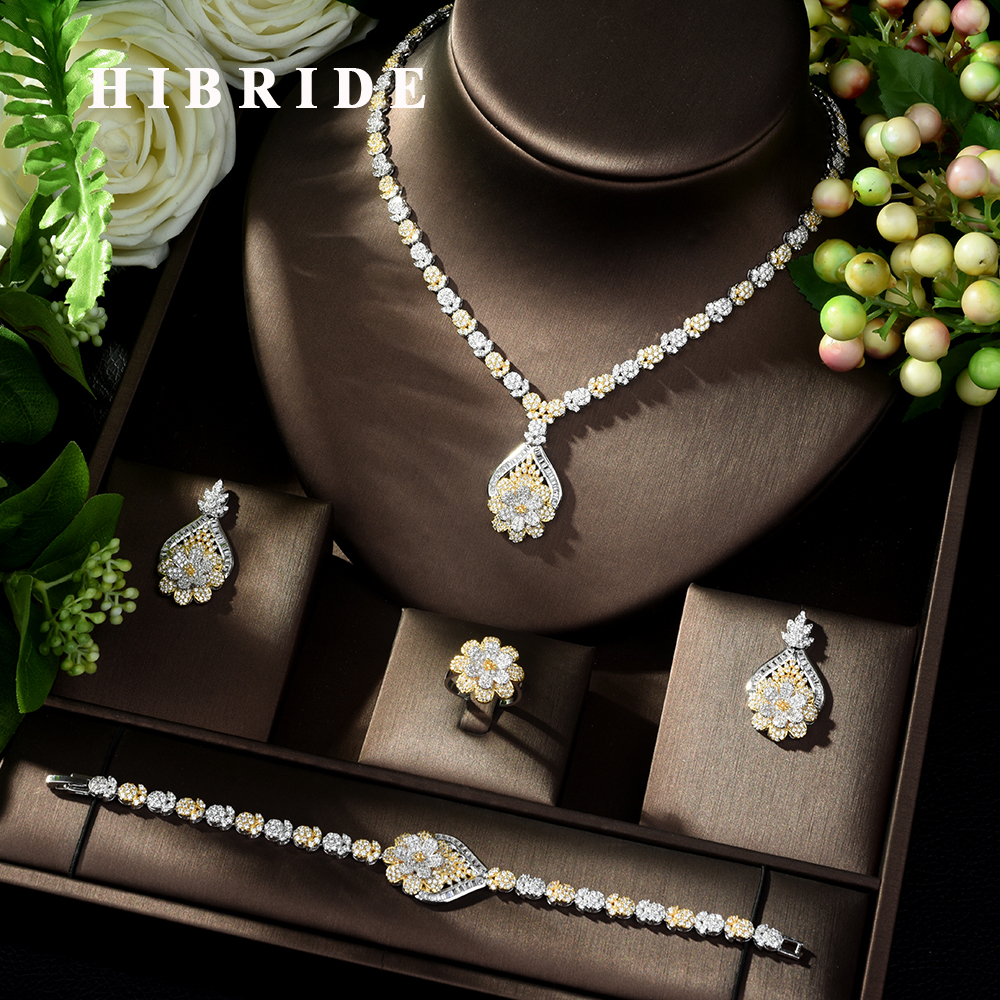 HIBRIDE Exclusive Dubai Gold Plate Jewellery Luxury Cubic Zirconia Necklace Earring Bracelet Party Jewelry Set for