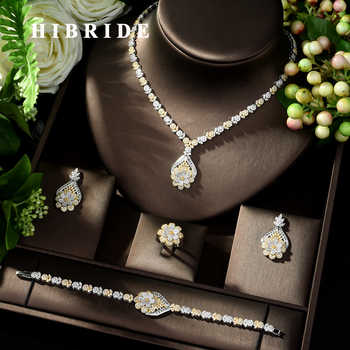 HIBRIDE Exclusive Dubai Gold Plate Jewellery Luxury Cubic Zirconia Necklace Earring Bracelet Party Jewelry Set for Women N-135 - DISCOUNT ITEM  30% OFF All Category