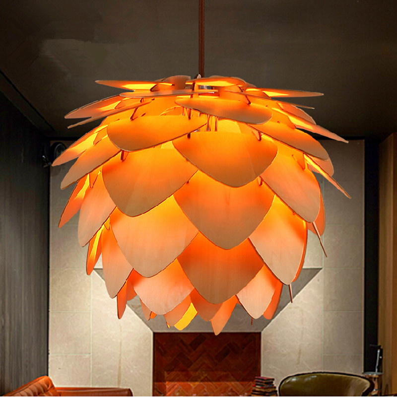 Modern Pine Cone Wood Pendant Lights European Fashion Design Style Lamps Bar Restaurant Hanging Luminaria In From