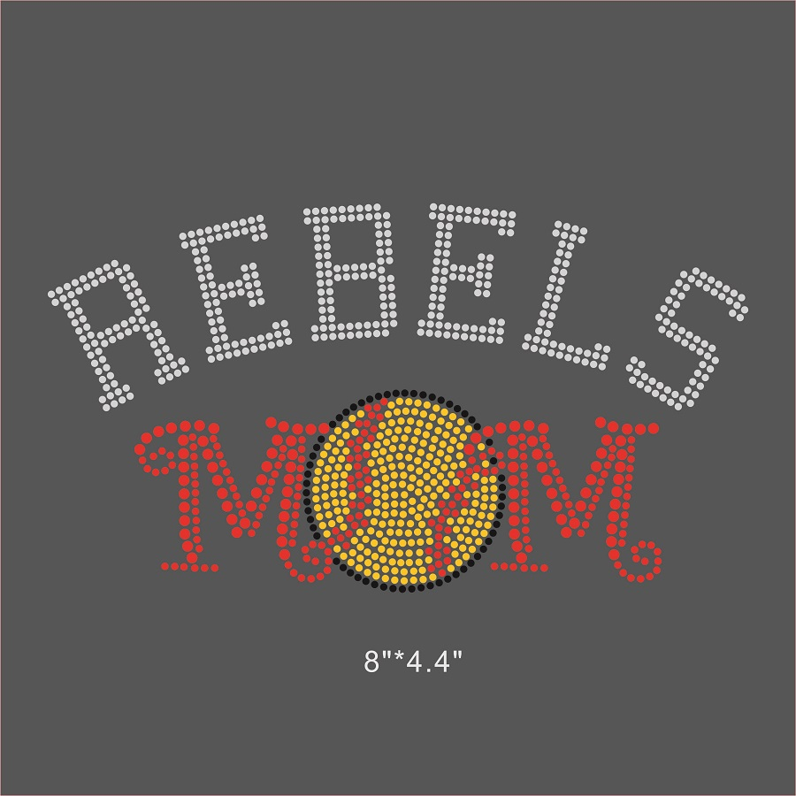 12 Pieces Lot Rebels Softball Mom Iron On Rhinestone Sticker Design Bling  Bling For DIY Apparel c27ffcc4b48a