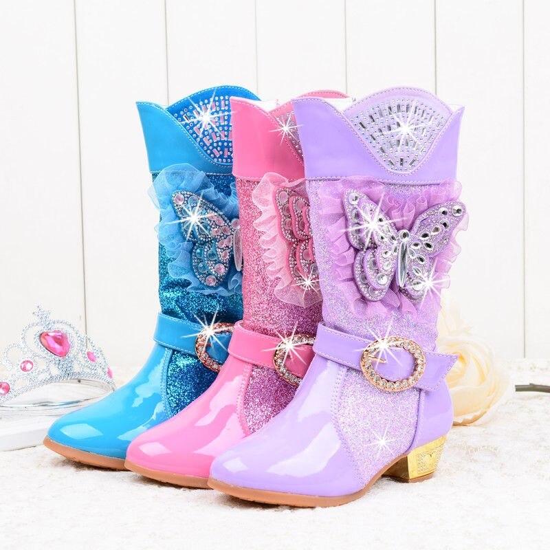 2018 muchachas de la princesa de tacón alto botas de nieve con la mariposa y felpa, hasta la rodilla, lentejuelas zapatos de fiesta Rhinestone rosa de encaje