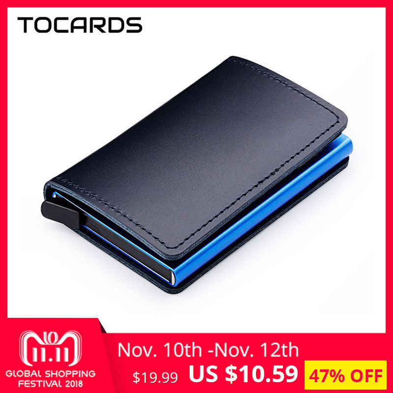 лучшая цена RFID Blocking 100% Genuine Leather Credit Card Holder Aluminum Metal Business ID Cardholder Slim Card Case Mini Wallet for Men