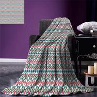 Ikat Throw Blanket Ancient Cultures Theme Mexican Aztec Motifs with Geometrical Native American Design Warm Microfiber
