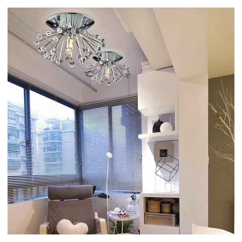 Aliexpress Buy Mini Modern Chrome Plating Crystal Flush Mount Dandelion Entrance Lights Living Room Bedroom Study Kitchen From Reliable