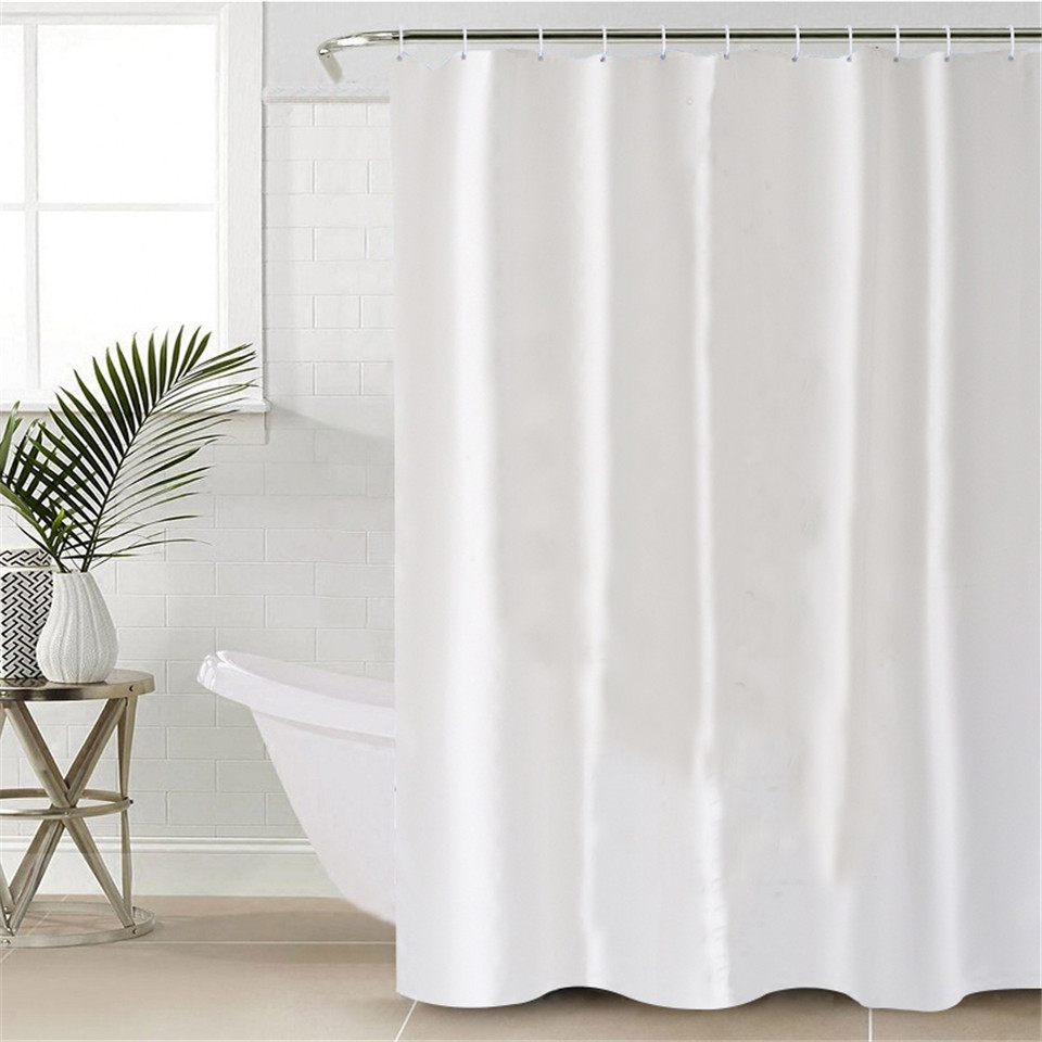 White Shower Curtain Waterproof Polyester With Hooks Best Children's Lighting & Home Decor Online Store
