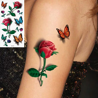 32e8353f8 3D Gothic Sexy Temporary Tattoo Stickers Party Fancy Body Art Makeup Rose & Butterfly  Tattoo Flash
