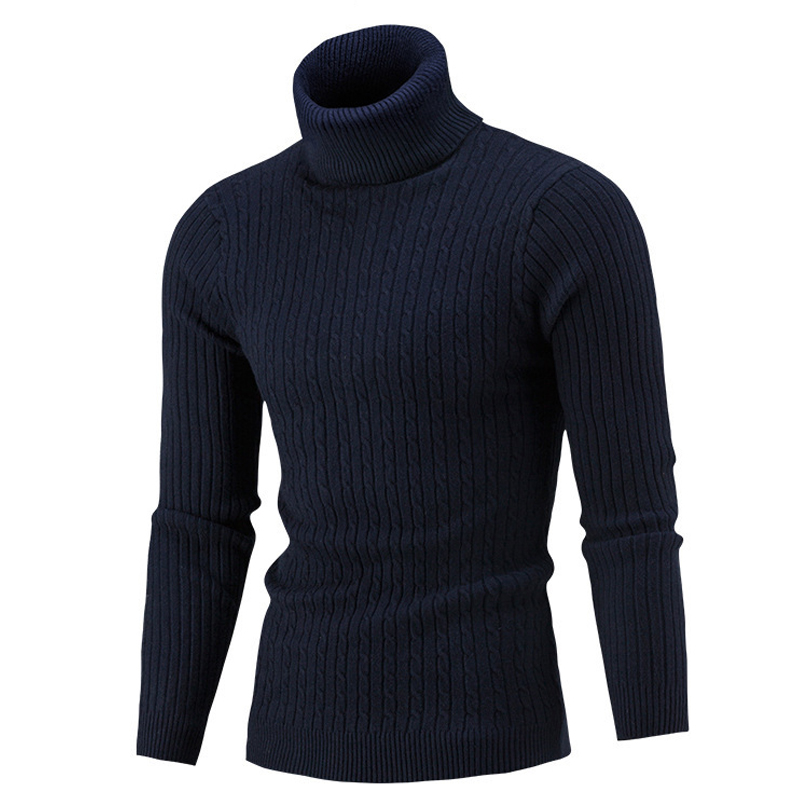 Autumn Winter Turtleneck Sweater Men 2019 Solid Color Sweater Men's Slim Long Sleeve Knitted Men Pullovers Sweater Plus Size 3XL