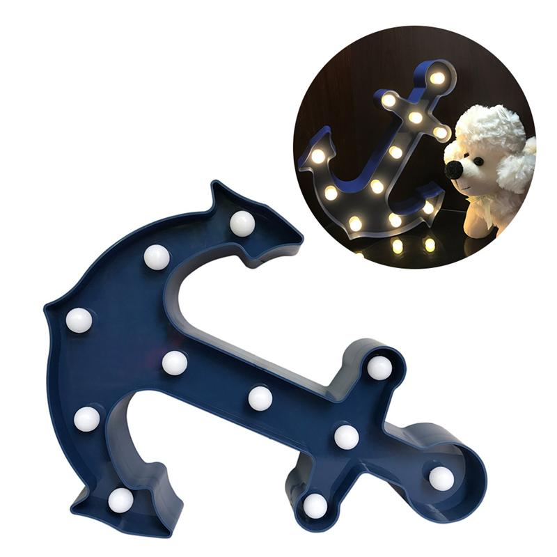 11LEDs Anchor Marquee Sign Light Anchor Shaped LED Lamp Night Light Battery Operated For ...