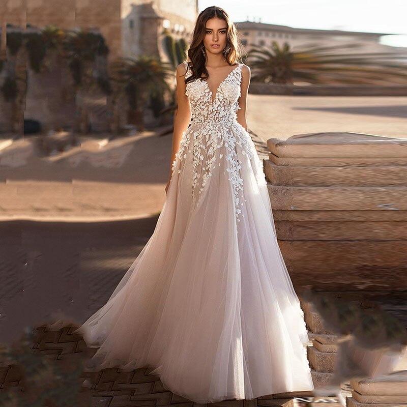Eightale Boho Wedding Dresses 2019 V Neck Appliques Lace Beach A-Line Tulle Backless Princess Wedding Gowns Dubai Bride Dress