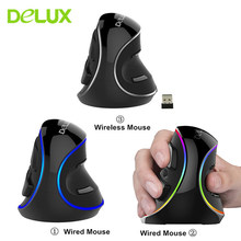 Delux M618 Ditambah Vertikal Mouse Gaming 3D Tikus Ergonomis Berguna Lampu LED Mouse Komputer Mouse untuk PC Laptop Gamer(China)