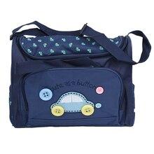 Комплект из 4 предметов: милые детские сумки для пеленания с вышивкой и пуговицами, темно-синие
