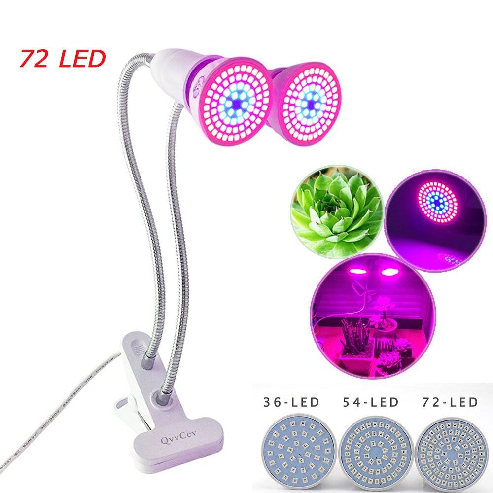 36 54 72 LED Coltiva La Luce E27 Lampadina dual Lampade per piante fiore con clip di scrivania supporto Per serra indoor Idroponica semi Veg