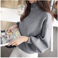 Hot Sale 2016 New Fashion Spring Autumn Women Batwing Sleeve Outerwear turtleneck Long Sleeve Solid color Pullover Sweater AA42