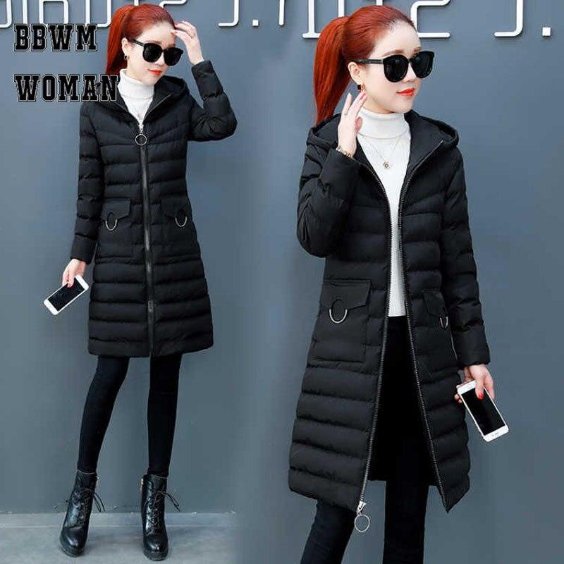Matte Fabric 2018 Winter Coat Women Long Korean Cotton   Parkas   Slim Warm Hooded Jacket ZO1776