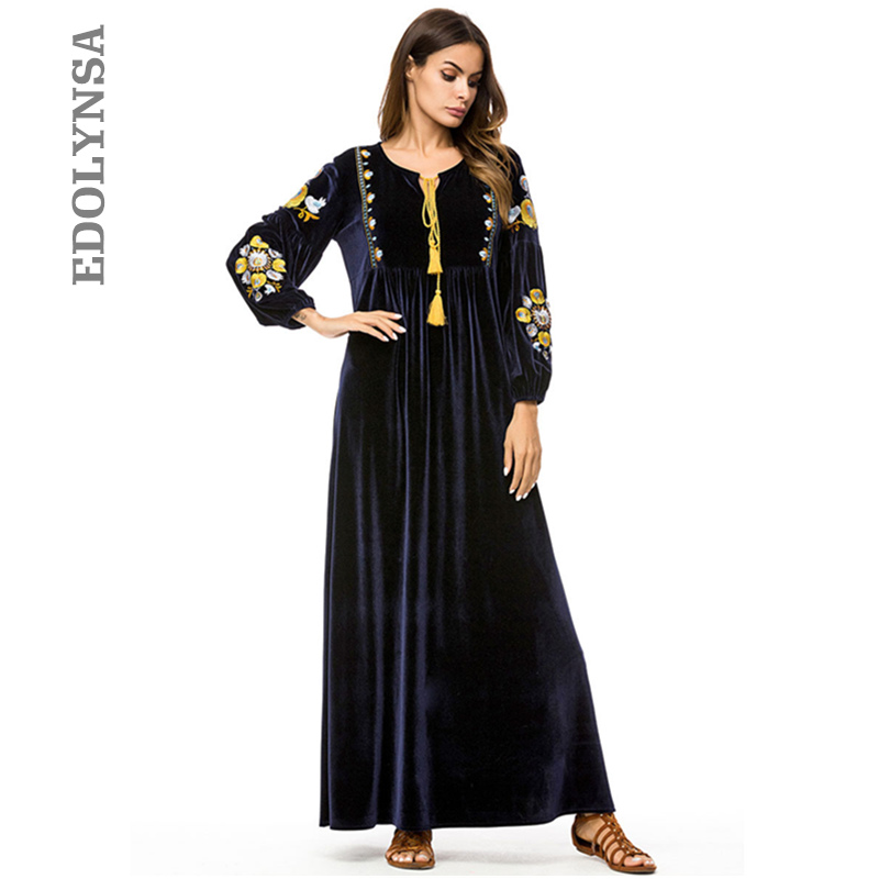 Large Size Women Winter Fashion 2020 New Arrival Velvet Ukraine Maxi Dress Long Sleeve High Waist Pakistani Dress Kaftan D679 Dresses Aliexpress