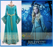 New Arrival Movie Maleficent 2014 Elle Fanning Outfit Dress Cosplay Costume