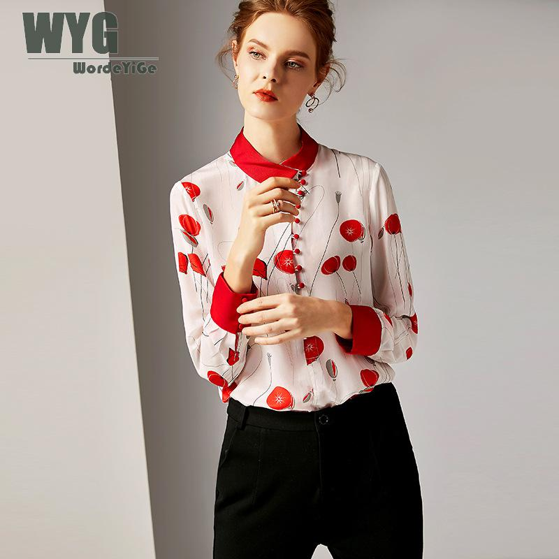 100% Silk Blouses For Women XXL 2019 Spring Newest Fashion High Quality Red Balloons Print Buttons Long Sleeve Retro Silk Shirts