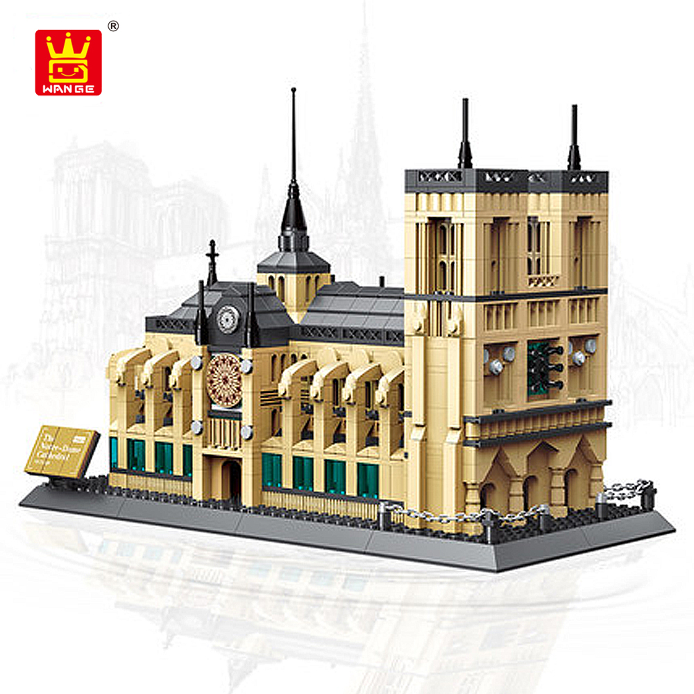 Famous Architecture Construction Building Blocks Bricks Compatible Legoe Notre-Dame Cathedral Education Blocks Toys for Children spell insert building blocks fire model plastic environmental protection construction science and education children s education