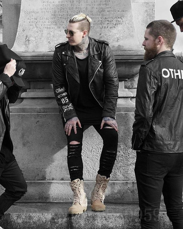 6eafb714d New hip hop youth fashion trends mens designer clothes 30 36 black stretch  rockstar moto rock skinny distressed ripped jeans-in Jeans from Men's  Clothing on ...
