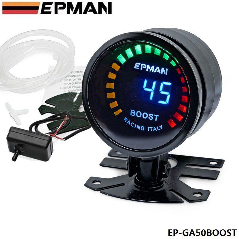 """EPMAN - 2"""" 52mm Digital Color Analog LED PSI/BAR Turbo Boost Gauge Meter W"""