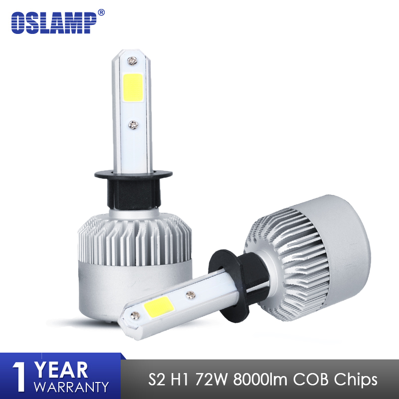 Oslamp H1 Single Beam COB Car LED Headlight Bulbs 72W 8000LM 6500K H1 Led Bulb HeadlightAuto Headlamp Fog Light Bulb DC 12v 24v